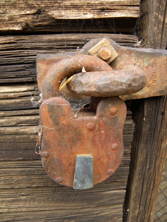 This padlock was on the jail in Midas Nevada. The lock spoke to me more than the shack it was attached to.