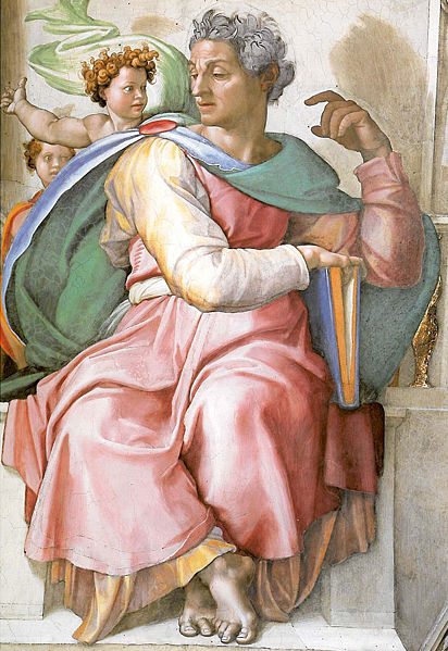Rosie was based on the image of Isaiah from the Sistine Chapel - instead of the Book of the Law, she rests her arm on her lunchbox.