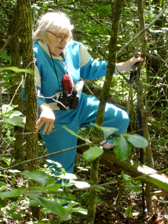 A 93-year-old Mary Jane blazes a path through the hollow.