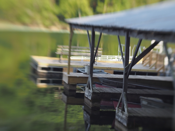 This is an image I took last year with the tilt-shift lens at a local lake. The tilt lets me focus on a small portion of the image and lets the rest blur. It takes a boring angled shot of a dock and makes it pretty interesting to investigate visually.