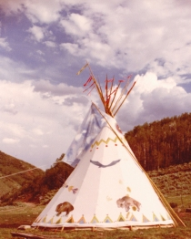This is just a cool shot of a teepee with a sky scene painted on the flaps - I like how she lined it up so that the sky was in the sky - but I like her skill at capturing the sky and the foreground with equal detail.