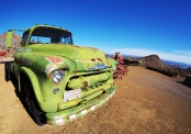 Old Truck - shooting at eye level with a distant horizon makes the truck monumental in this vast landscape